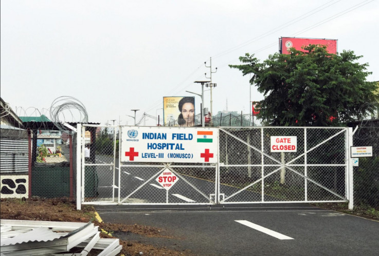 A general view of the locked entrance to the Level III Indian Field Hospital, where the dead body of Italian Ambassador Luca Attanasio lies, in Goma, eastern Democratic Republic of the Congo February 22, 2021.
