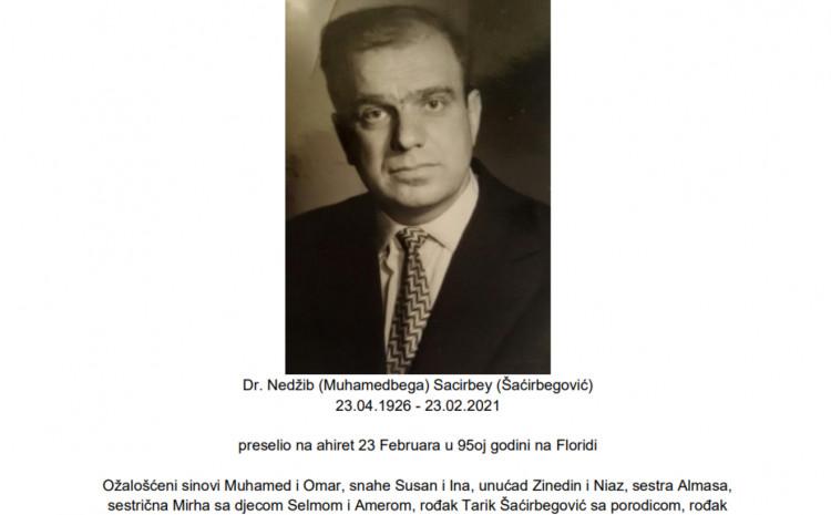 Nedžib Šaćirbegović umro u 95. godini