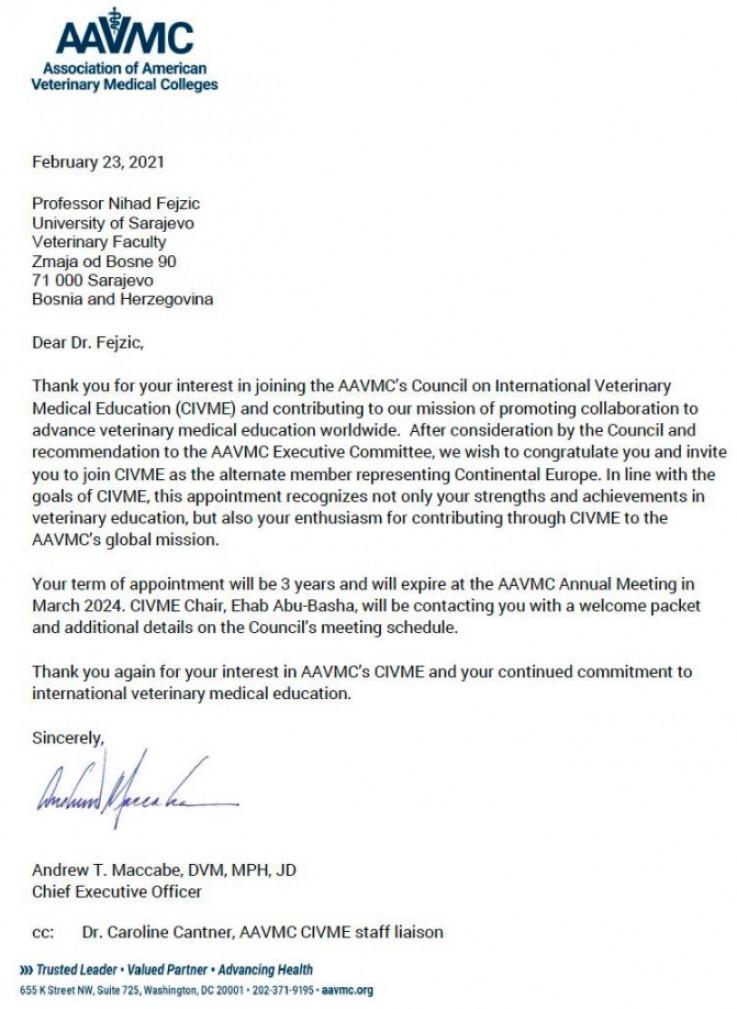 Faksimil obavještenja Američke asocijacije veterinarskih fakulteta