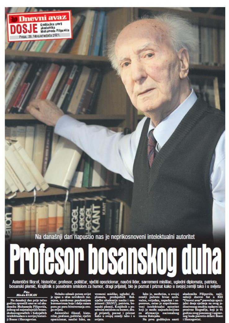 Naslovnica dosjea: Profesor bosanskog duha