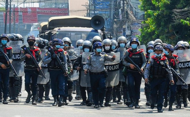 Warning shots, tear gas, and stun grenades were fired at two major street junctions in Yangon as police used much tougher means of cracking down on anti-coup demonstrators, witnesses said