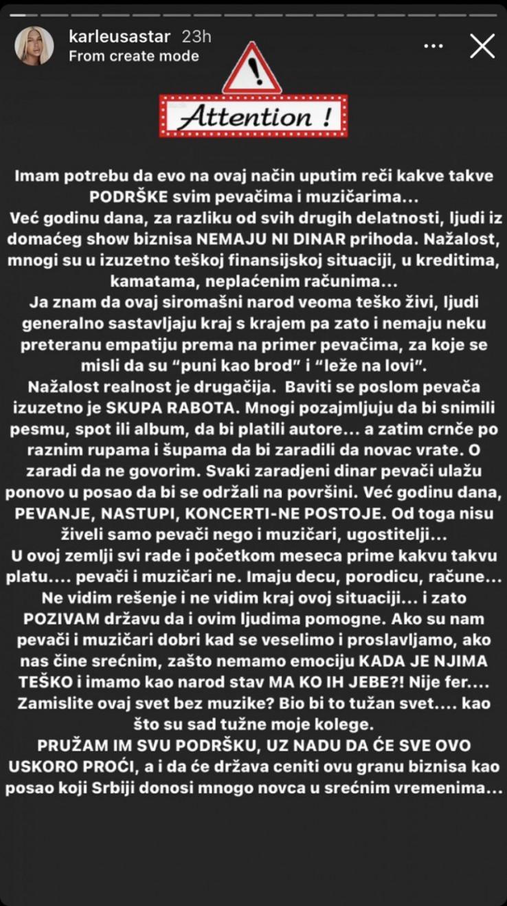 Poruka Jelene Karleuše