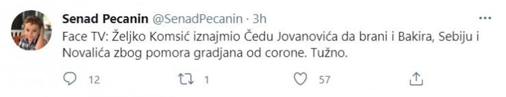 Objava Pećanina na Twitteru