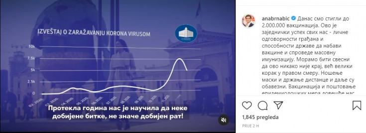 Objava Ane Brnabić na Instagramu