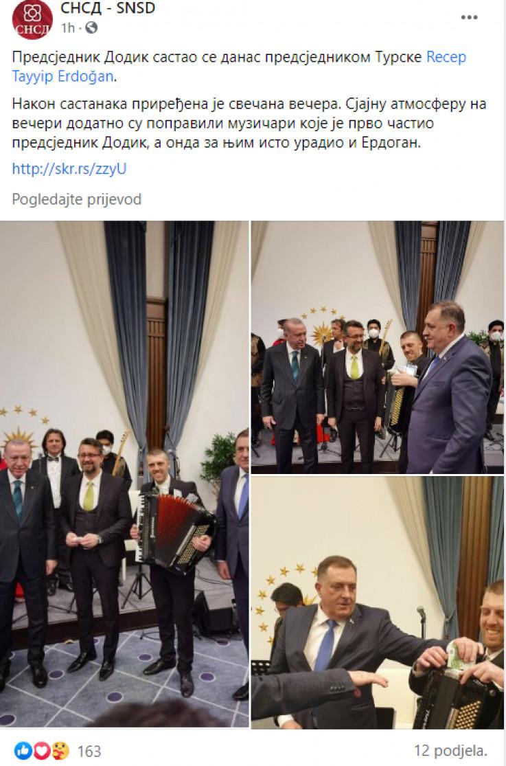 Erdoan i Dodik sa muzičarima