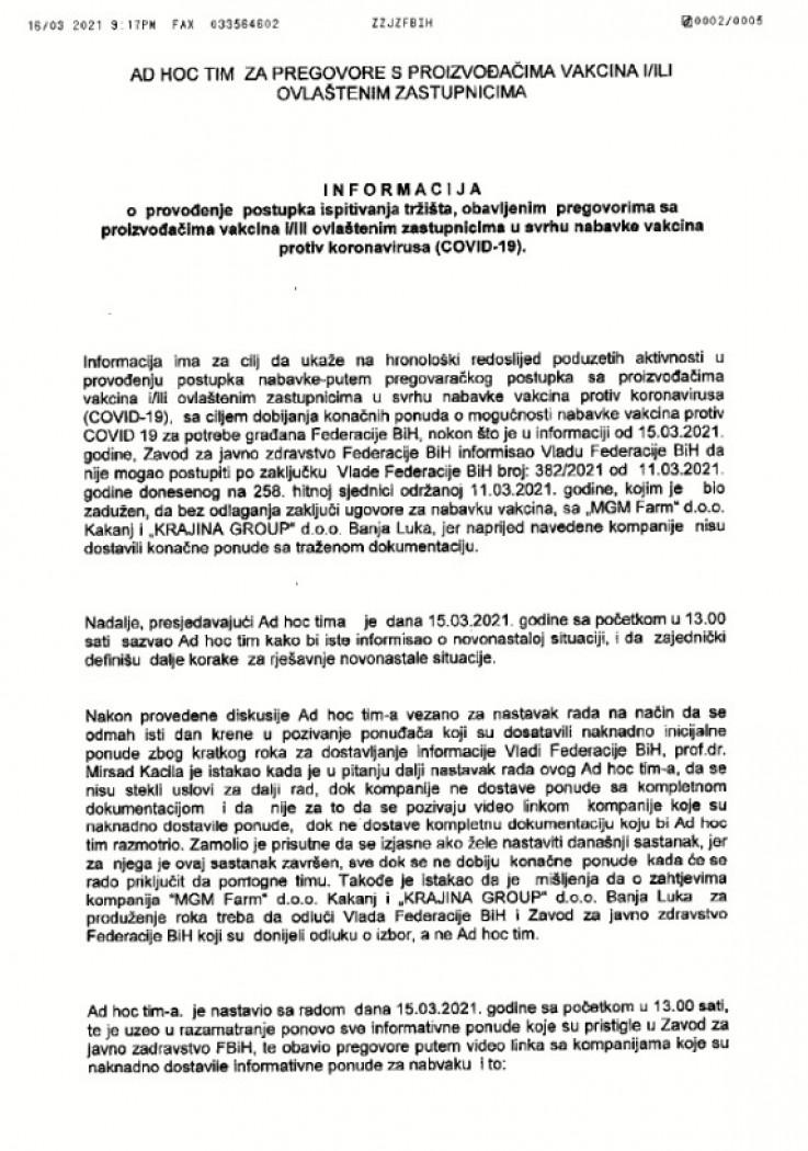 Faksimil Informacije Ad hoc tima koji je predstavljen Vladi FBiH