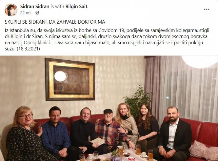 Sidran se zahvalio ljekarima iz Turske