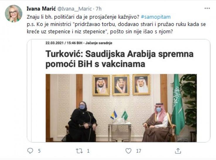 Marić komentirala i posjetu Turković Saudijskoj Arabiji