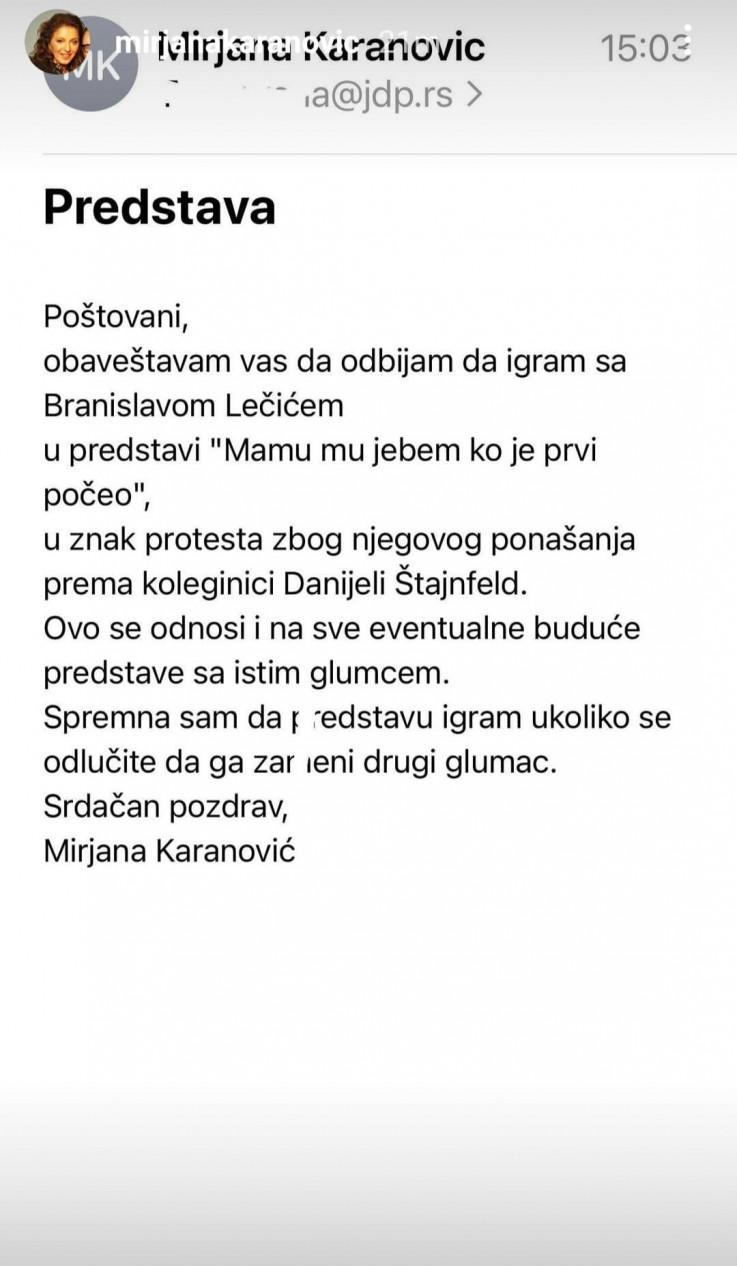 Objava Karanović na Instagramu