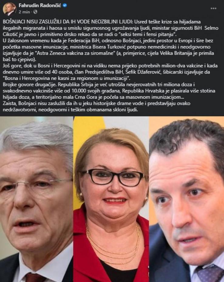 Status Fahrudina Radončića, predsjednika SBB-a na Facebooku