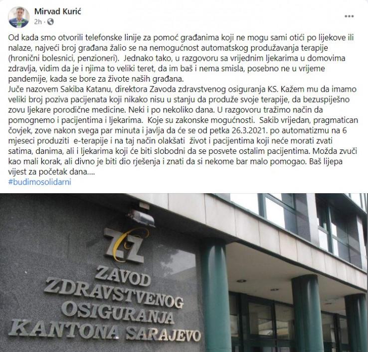 Faksimil Kurićevog posta na Facebooku