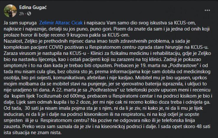 Objava Edine Gugać na Facebooku