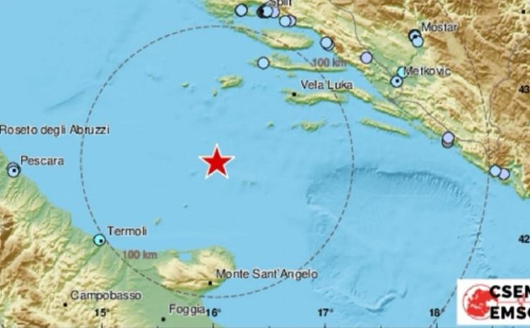 Snažan zemljotres u Jadranskom moru