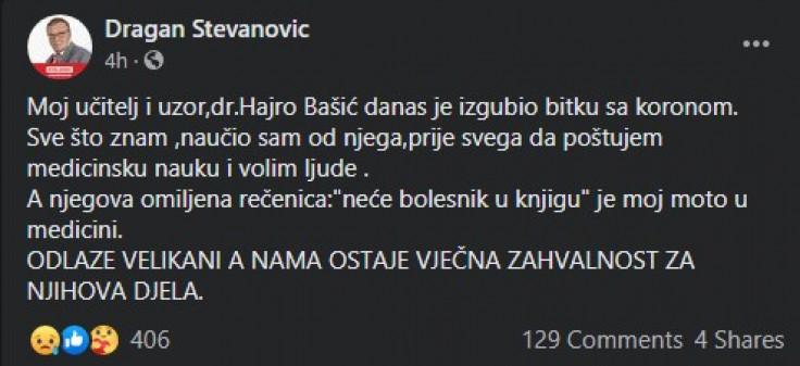 Objava dr. Stevanovića na Facebooku