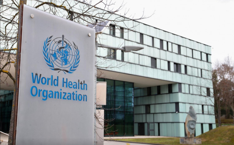 A logo is pictured outside a building of the World Health Organization (WHO) during an executive board meeting on update on the coronavirus outbreak, in Geneva, Switzerland, February 6, 2020.