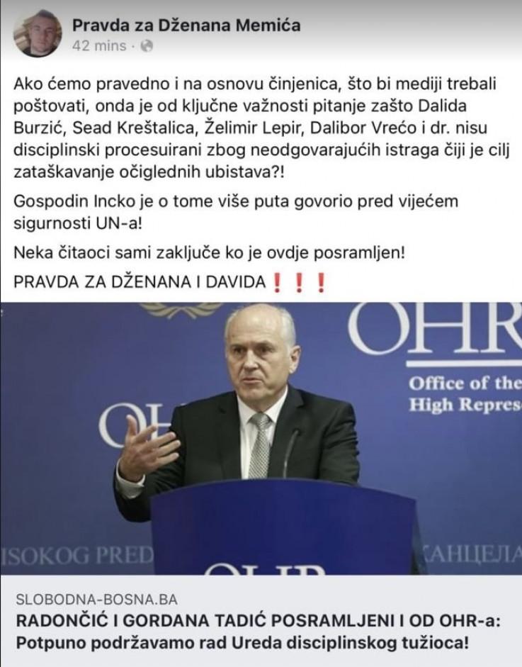 Status objavljen na stranici Pravda za Dženana Memića