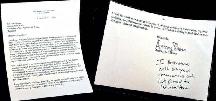 Pismo koje je Blinken poslao Vučiću