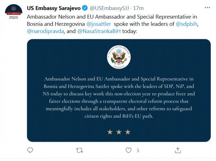 Objava Američke ambasade na Twitteru