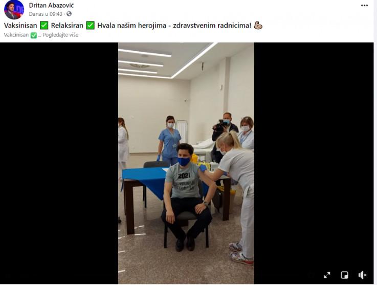 Abazović se vakcinisao