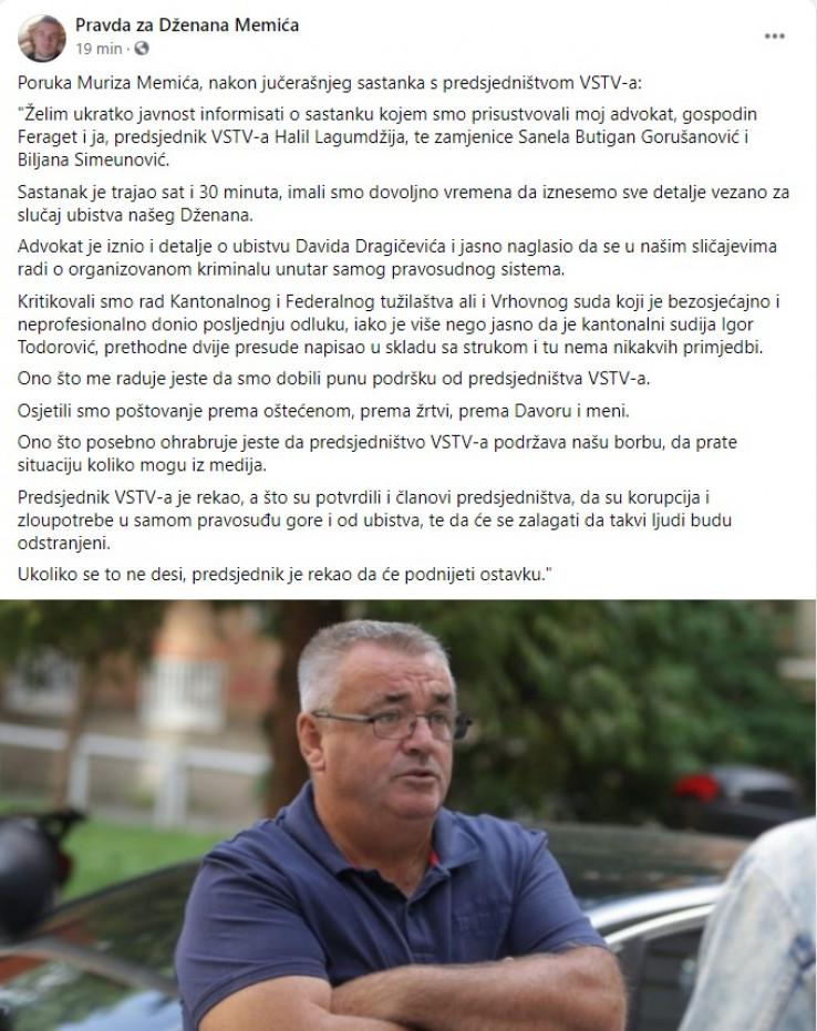 Faksimil objave Muriza Memića