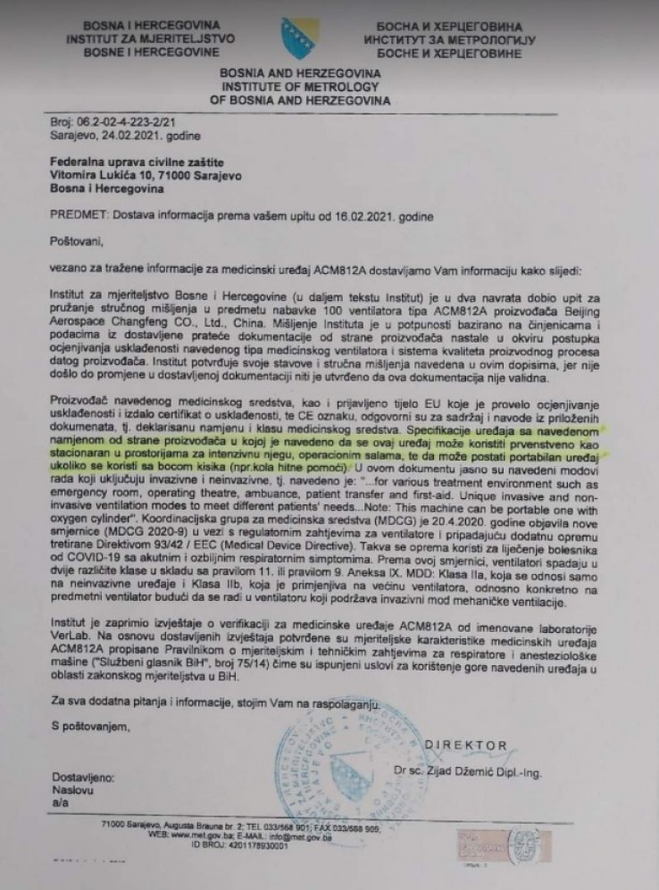 """Mišljenje Džemića od 24. februara 2021. u kojem tvrdi da se respiratori """"Srebrene maline"""" mogu koristiti u jedinicama intenzivne njege"""