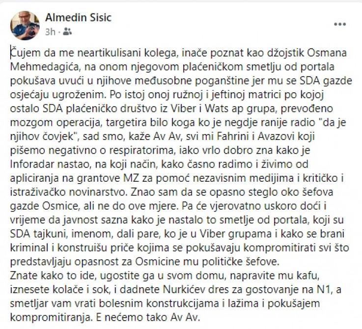 Facebook status novinara Almedina Šišića