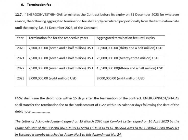 Faksimil raskidne klauzule u ugovoru s mađarskim transporterom