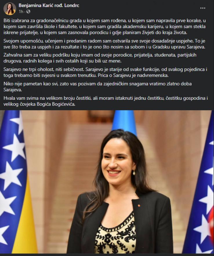 Objava gradonačelnice Karić na Facebooku
