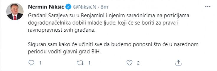 Objava Nermina Nikšića na Twitteru