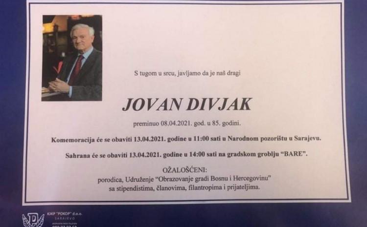 Osmrtnica Jovana Divjaka