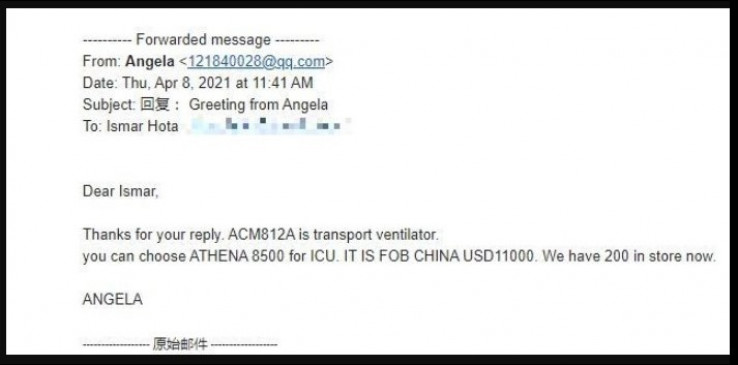 Menadžer Angela odgovorila da se ACM812A ne može koristiti  u jedinicama intenzivne njege, jer se radi o transportnim respiratorima