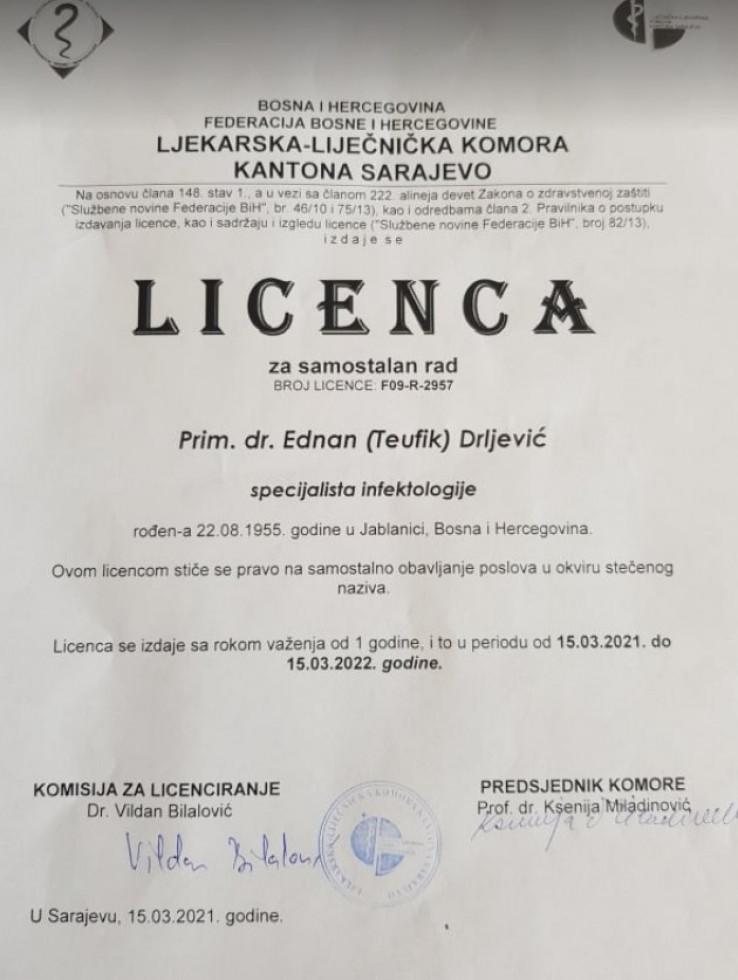 Licenca doktora Ednana Drljevića