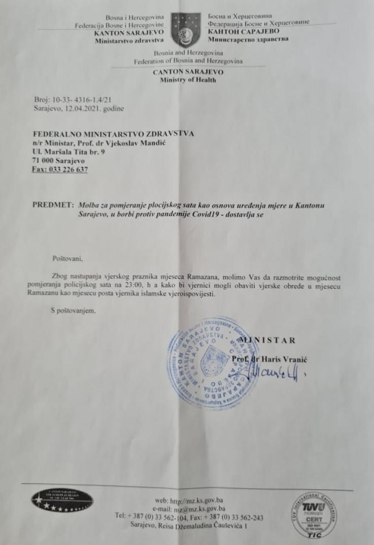 Dopis koji je uputio ministar zdravstva KS Haris Vranić