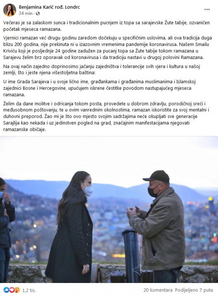 Objava Benjamine Karić
