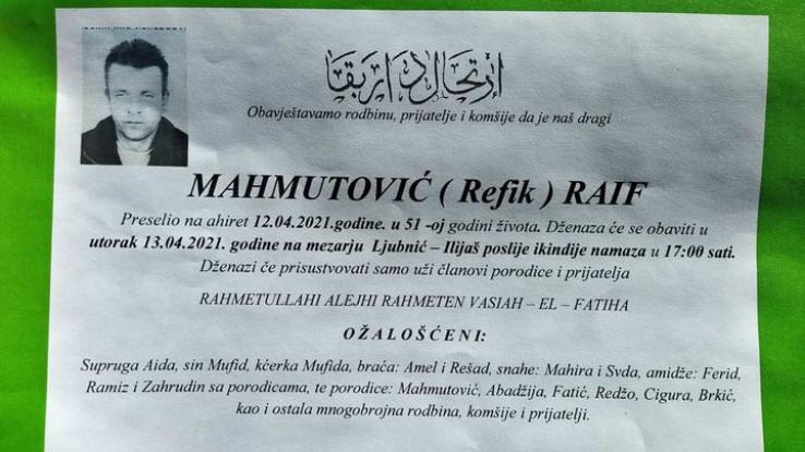 Raif Mahmutović je preminuo u 51. godini