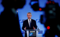 NATO Secretary General Jens Stoltenberg speaks during a media conference at NATO headquarters in Brussels, Belgium, April 13, 2021.