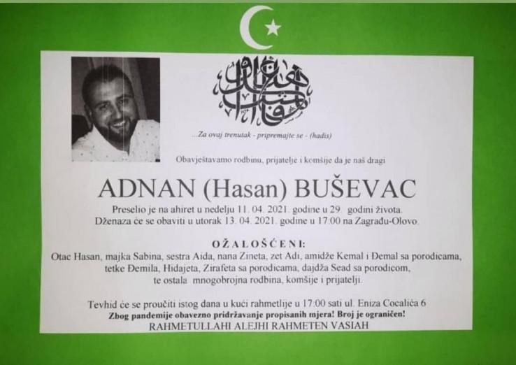 Smrtovnica Adnanu Buševcu