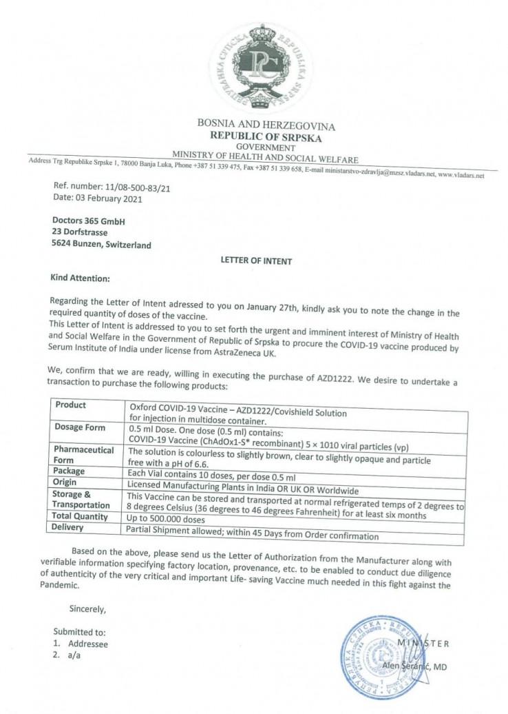 Vlada RS poslala pismo namjere 3. februara