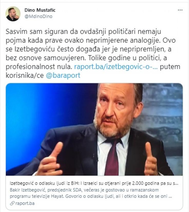 Mustafić o komentaru Izetbegovića