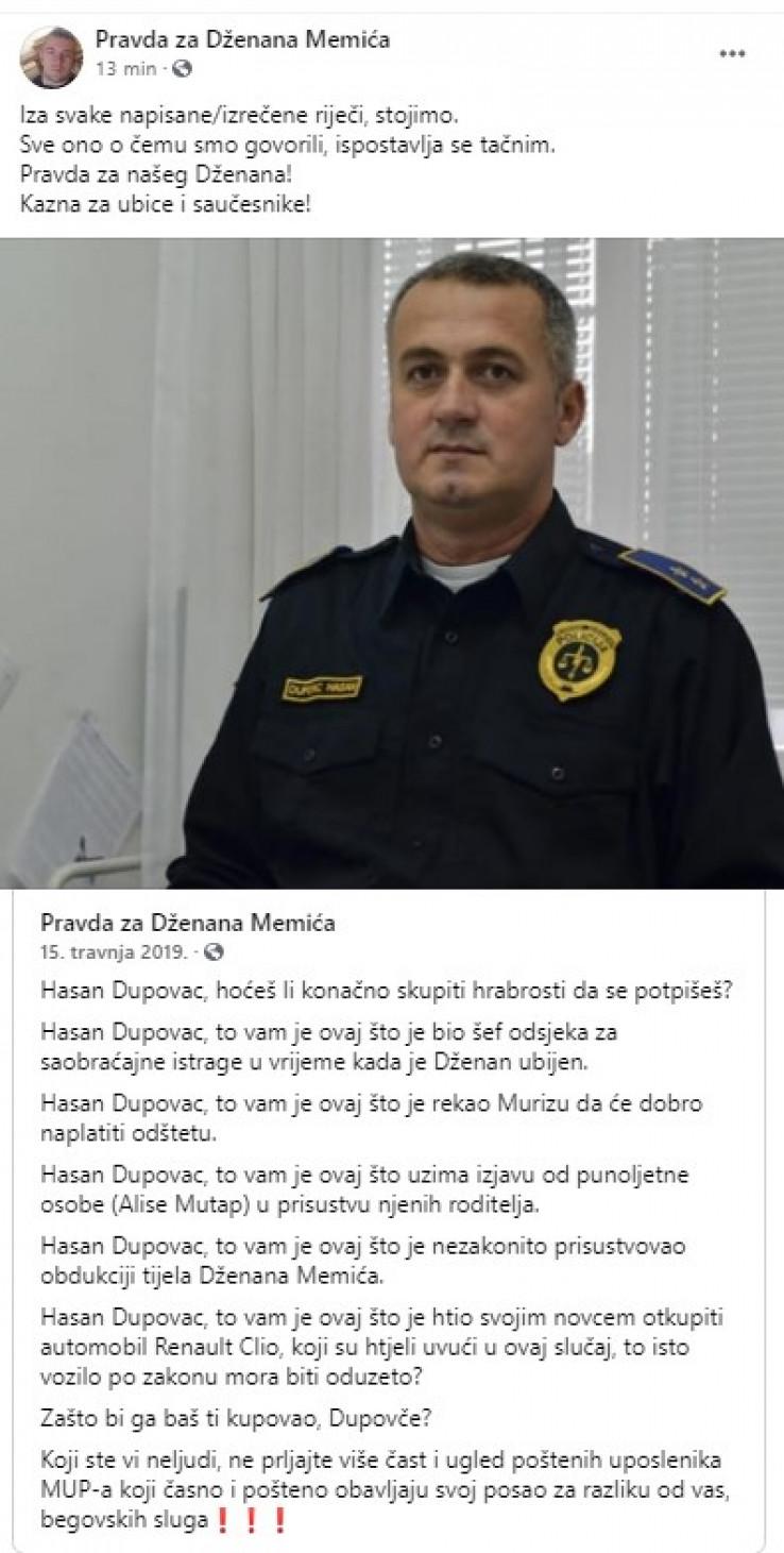 Status na stranici Pravda za Dženana Memića