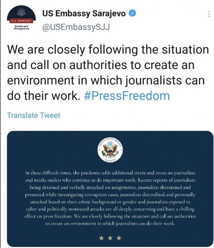 Objava Ambasade SAD u BiH na Twitteru