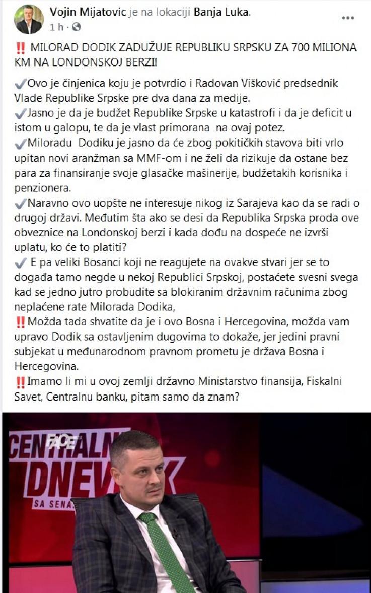 Status Vojina Mijatovića