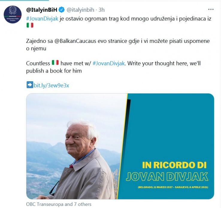 Objava Ambasade Italije u BiH