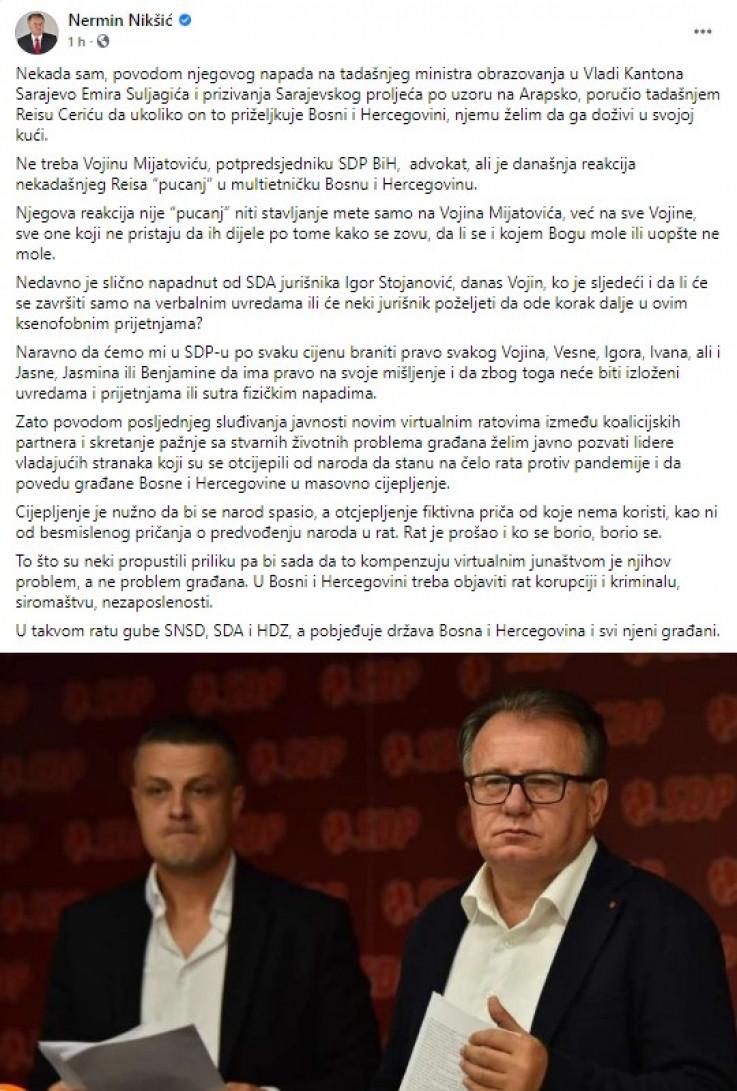 Objava Nermina Nikšića