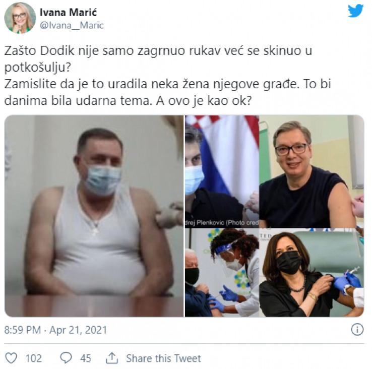 Objava Ivane Marić na Twitteru