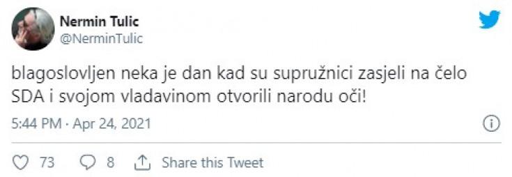 Status Nermina Tulića na Twitteru