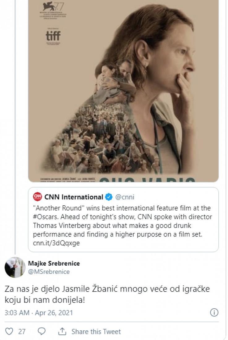 Komentar na objavu na Twitteru