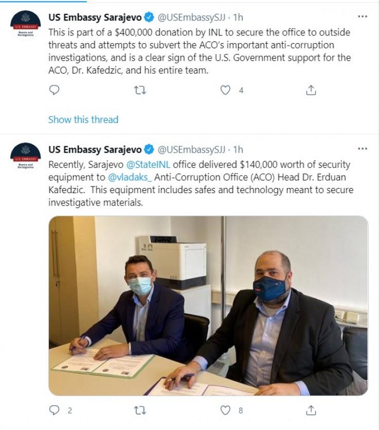 Objava na Twitter profilu Ambasade SAD u BiH