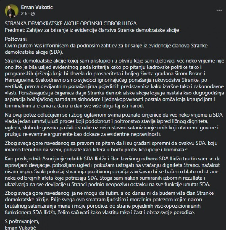 Status Vukotića na Facebooku