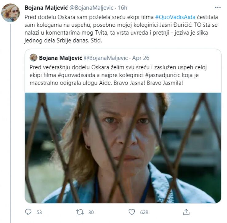 Objava Bojane Maljević na Twitteru